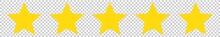 5 Stars Yellow Isolated Transp...