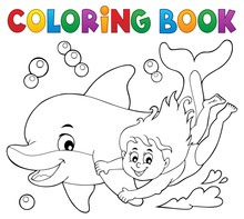 Coloring Book Girl And Dolphin...