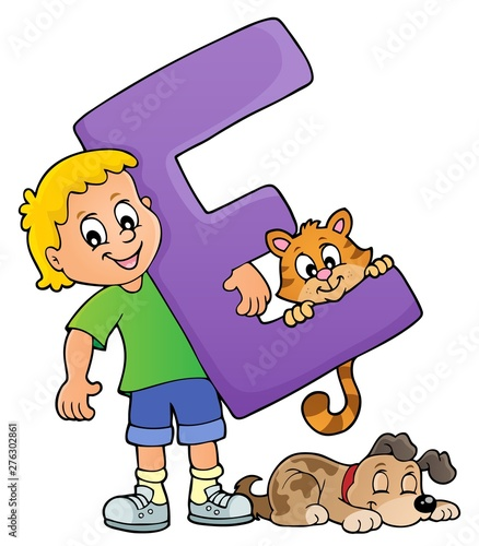 Fotobehang Voor kinderen Boy and pets with letter E
