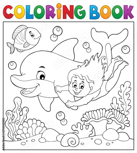 Montage in der Fensternische Für Kinder Coloring book girl and dolphin theme 2