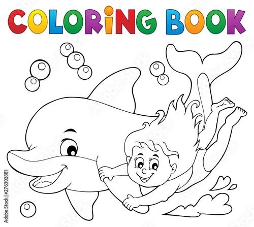 Foto auf Gartenposter Für Kinder Coloring book girl and dolphin theme 1