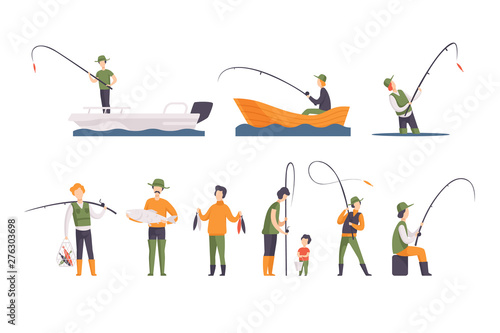Fototapeta Flat vector set of fishing people with fish and equipment