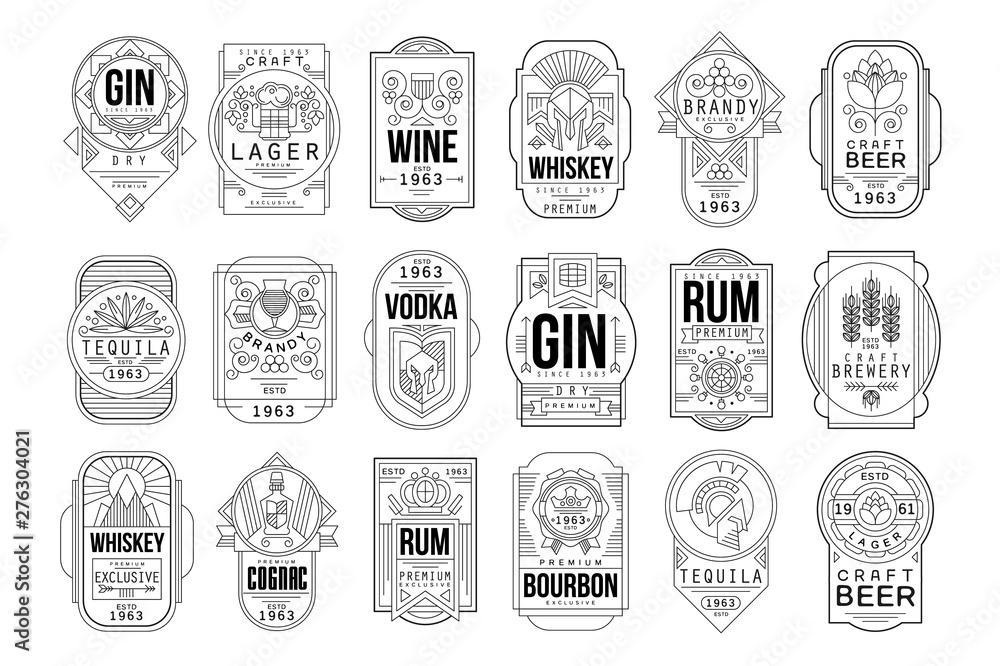 Fototapeta Alcohol labels set, retro alcohol industry monochrome emblem vector Illustration on a white background