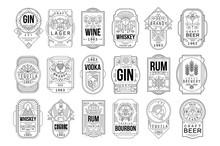Alcohol Labels Set, Retro Alco...