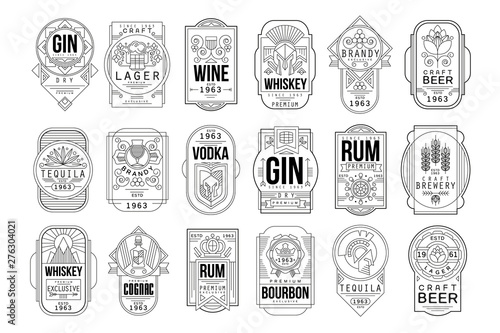 Alcohol labels set, retro alcohol industry monochrome emblem vector Illustration Fototapete