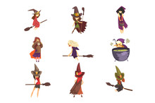 Flat Vector Set Of Young Witches In Different Actions. Flying On Brooms, Cooking Potion And Posing. Girls In Cone Hats And Capes With Hoods