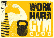 Work Hard. Retro Gym Typograph...