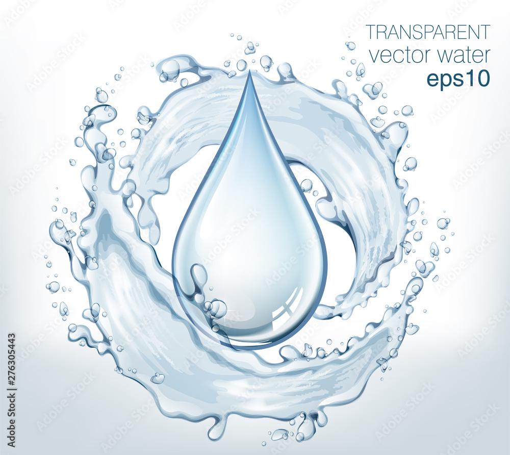 Fototapeta Transparent vector water splash and wave on light background