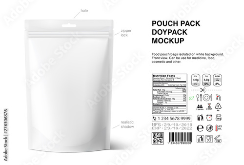 Pouch bags mockup with nutrition facts isolated on white background Fototapete