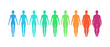 BMI concept. Female body mass index vector illustration. Body shapes from underweight to extremely obese