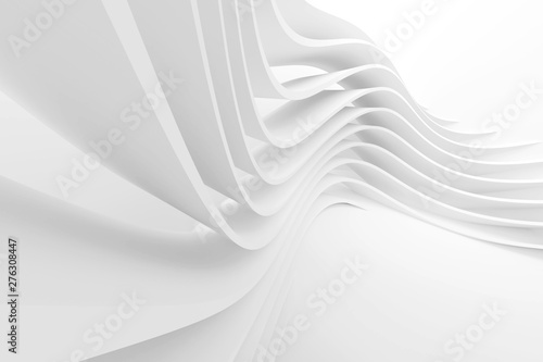Foto op Plexiglas Abstract wave White Architecture Circular Background. Modern Building Design