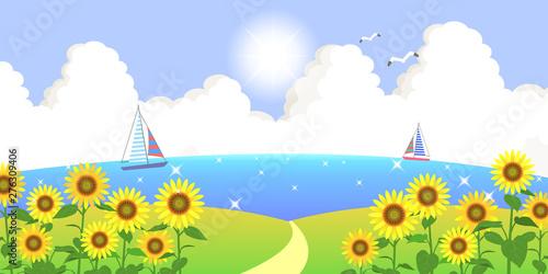 背景素材 海の見えるひまわり畑の丘 02