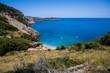 Coll Baix beach in Alcudia bay in Mallorca Balearic islands of Spain. Tropical paradise beach.Summer vacation travel holiday background concept