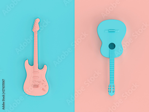 3d image render in style flat lay of two electric guitars