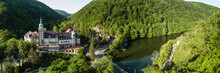 Aerial Drone View To Lillafured Castle In Hungary In Bukk National Park