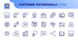 Simple set of outline icons about customer testimonials