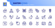 Simple Set Of Outline Icons About Easter