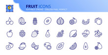 Simple Set Of Outline Icons About Fruit