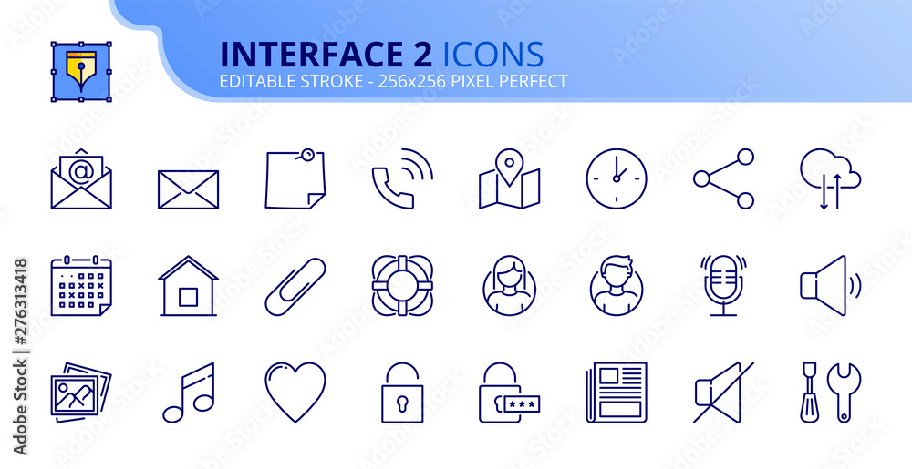Fototapety, obrazy: Simple set of outline icons about interface 2