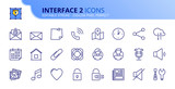 Fototapeta Panels - Simple set of outline icons about interface 2