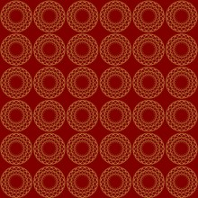 Fine Gold Patterns On Dark Red Background. Filigree Ornament, Luxurious Golden Abstract Motif, Vector Design