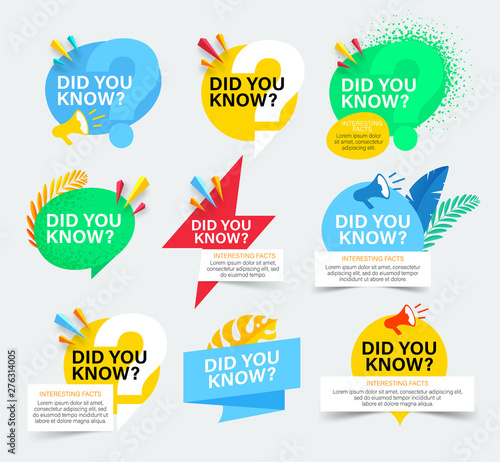 Obraz Set of colorful badges with did you know question. Isolated on white background. Did you know banner with megaphone and tropical leaves. - fototapety do salonu