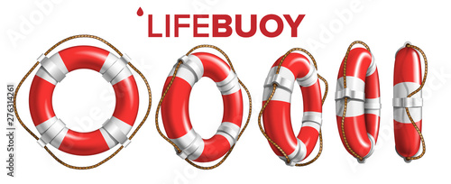 Fényképezés Boat Lifebuoy Ring In Different View Set Vector