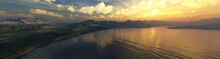 Beautiful Sea Bay At Sunset, Bay View From Above, Sunset Over The Lagoon, Rocky Bay At Sunrise, 3d Rendering
