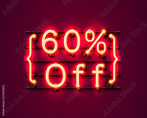 Neon frame 60 off text banner. Night Sign board. Tableau sur Toile