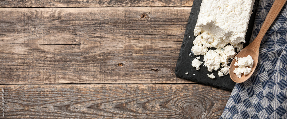 Fototapety, obrazy: Homemade cottage cheese on wooden table