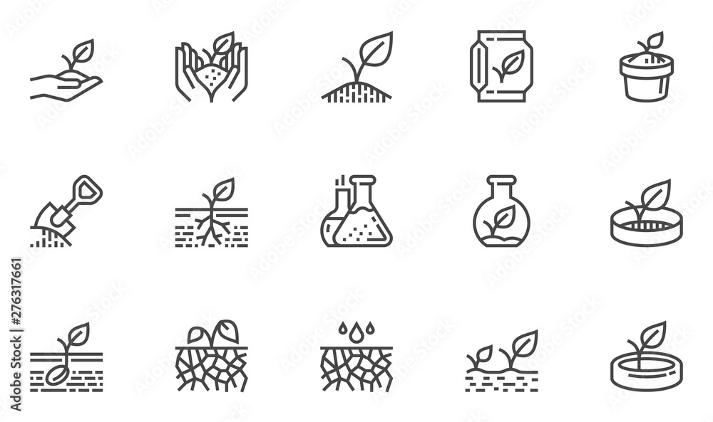 Fototapeta Soil Vector Line Icons Set. Growing Sprouts, Agronomy, Sprout nutrition, Growing Conditions. Editable Stroke. 48x48 Pixel Perfect.