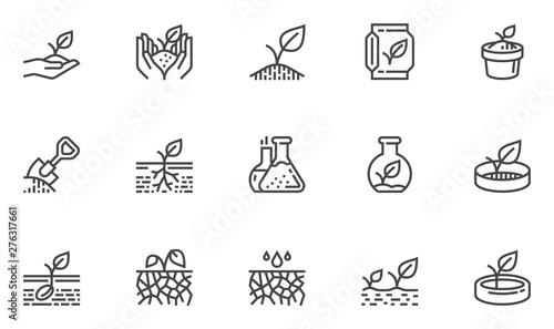 Fényképezés Soil Vector Line Icons Set