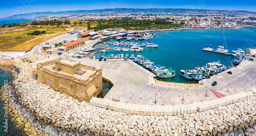 Poster Con. Antique Cyprus. Pathos. The Paphos castl panoramic view from the sea. The medieval port castle in the harbour. The museums of Cyprus. Mediterranean coast. Tourist landmarks Paphos. Travel to Cyprus.