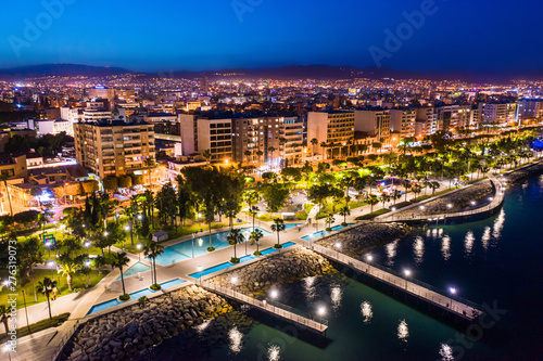 Spoed Foto op Canvas Cyprus Limassol. Republic of Cyprus night panorama. Night Molos embankment. Limassol's promenade protruding into the sea from height. The mediterranean seaside. The Cyprus beaches. Traveling to the Cyprus.