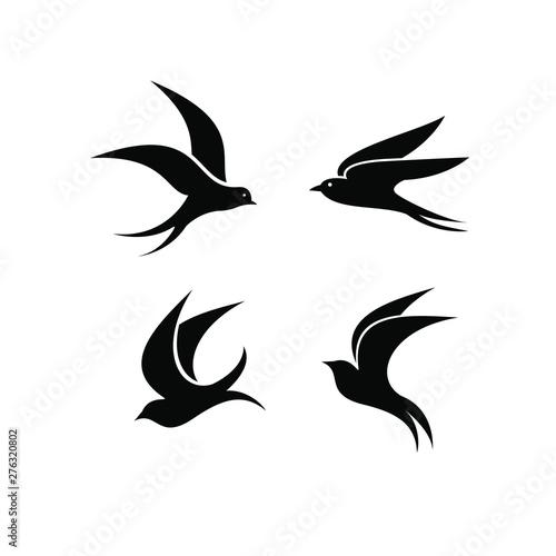 Photo swallow bird logo icon designs vector