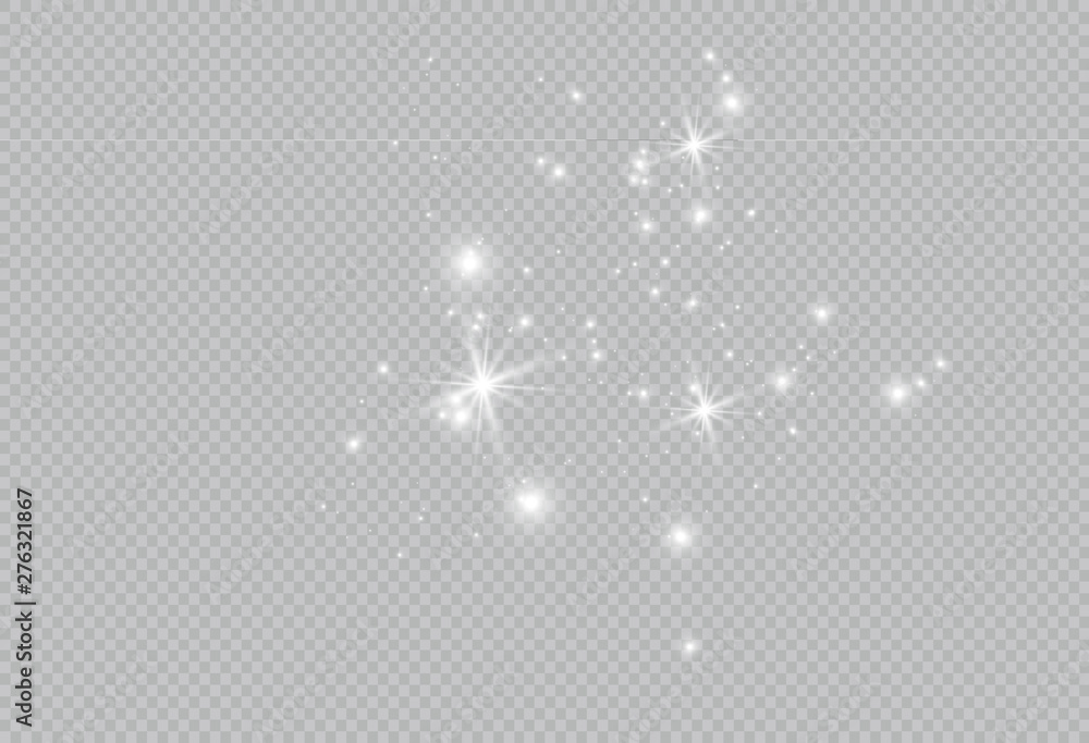 Fototapety, obrazy: Dust white. White sparks and golden stars shine with special light. Vector sparkles on a transparent background. Christmas abstract pattern. Sparkling magical dust particles.