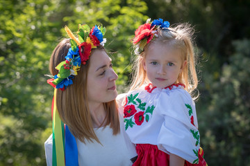 Mother and daughter in Ukrainian national dress