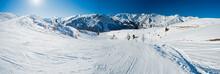 View Down A Piste In Alpine Ski Resort