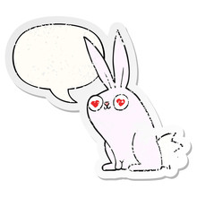 Cartoon Bunny Rabbit In Love A...