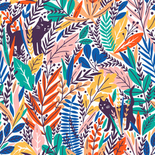 Vector Seamless Pattern With Cats And Tropical Leaves.