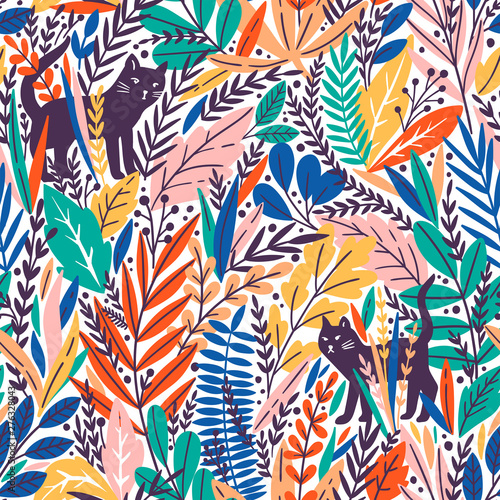 Vector seamless pattern with cats and tropical leaves. Fotobehang