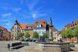 canvas print picture - Schleusingen: Marktplatz mit Rathaus (17. Jh.,Thüringen)