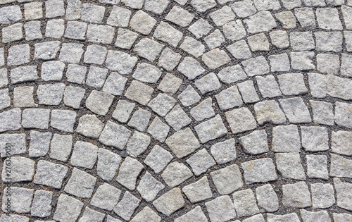 Obraz Old road paved with granite stones. - fototapety do salonu