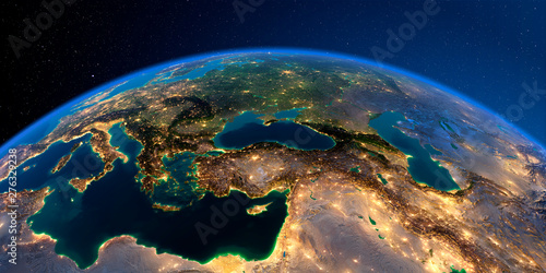Detailed Earth. Turkey. Middle East countries Tablou Canvas