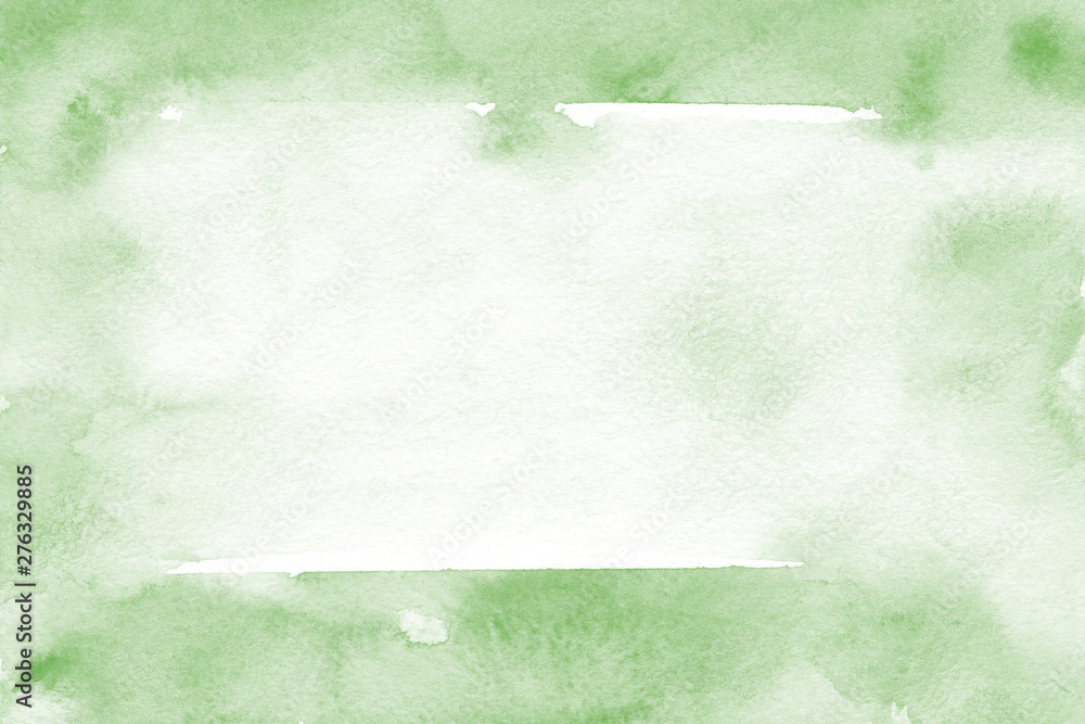 Fototapeta Natural green background with fresh watercolor texture in trendy eco style for modern healthy food design, bio label, eco-friendly products, organic brand style, and web site/app screen backgrounds.