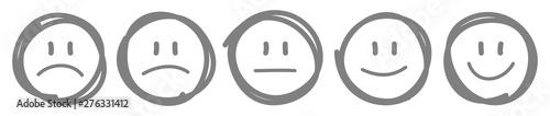 Fotografie, Obraz 5 Handgezeichnete Gesichter Feedback/Stimmung Kontur Grau