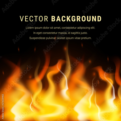 Abstract burning fire background text Fototapete