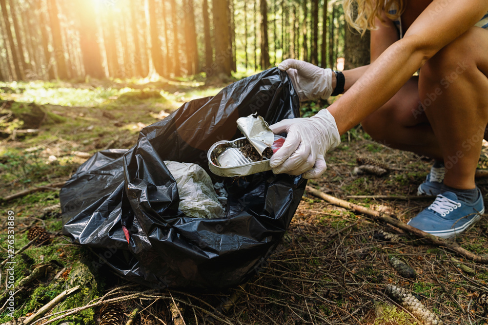Fototapety, obrazy: woman hand picking up a canned tin to clean up the forest from garbage. nature and environment cleaning concept image.