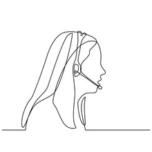 Continuous Line Drawing Of Operator With Headsets. Call Center Operator Woman With Headsets Working. Customer Service Representative. Vector Illustration Isolated On White Background.