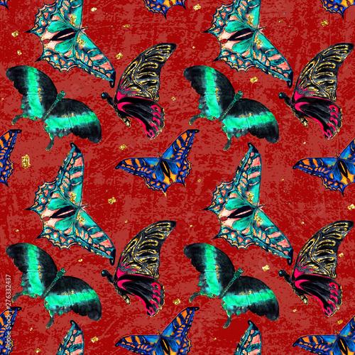 Photo  Hawaiian Tropical jungle colorful watercolor hand drawn butterflies seamless pat